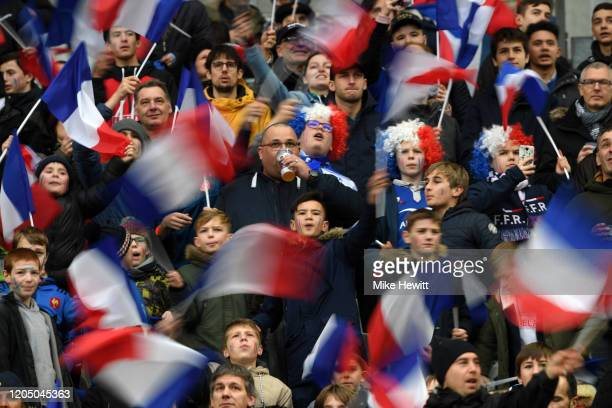 French fans look on prior to the 2020 Guinness Six Nations match between France and Italy at Stade de France on February 09, 2020 in Paris, .