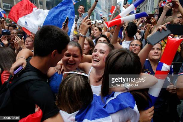 French fans react after France won the World Cup final match between France vs Croatia on July 15 2018 in New York The World Cup final between France...