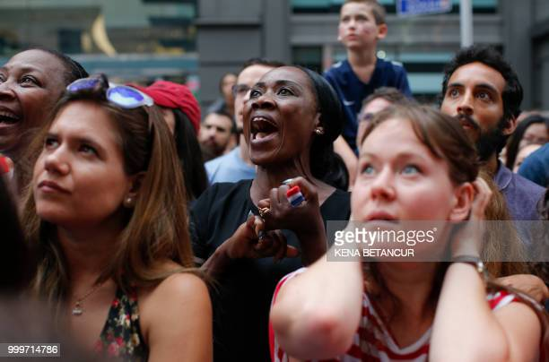 French fans react as they watch the World Cup final match between France vs Croatia on July 15 2018 in New York The World Cup final between France...