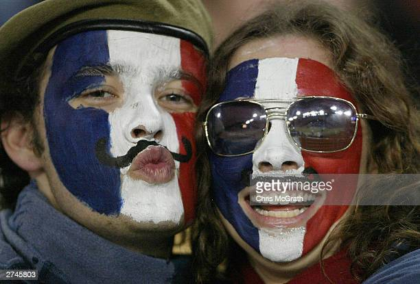French fans show their colours during the Rugby World Cup PlayOff match between France and New Zealand at Telstra Stadium November 20 2003 in Sydney...