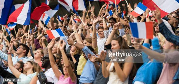 french fans with waving flags - french culture stock pictures, royalty-free photos & images