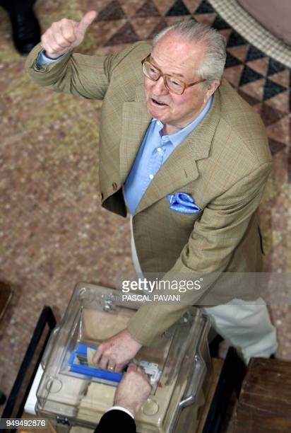 French far right Front National leader JeanMarie Le Pen gives a thumb up before voting for the French referendum on the EU constitution 29 May 2005...