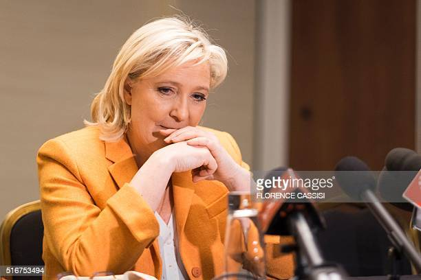 French far right Front National president Marine Le Pen speaks at a press conferencein Quebec City on March 20 2016 Le pen criticised Canada's...