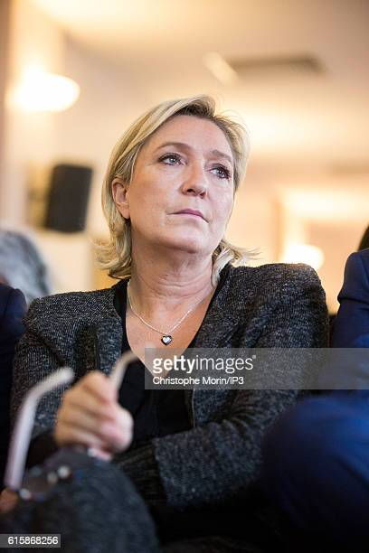 French far right National Front political party leader Marine Le Pen, member of the European Parliament, and candidate for the 2017 presidential...