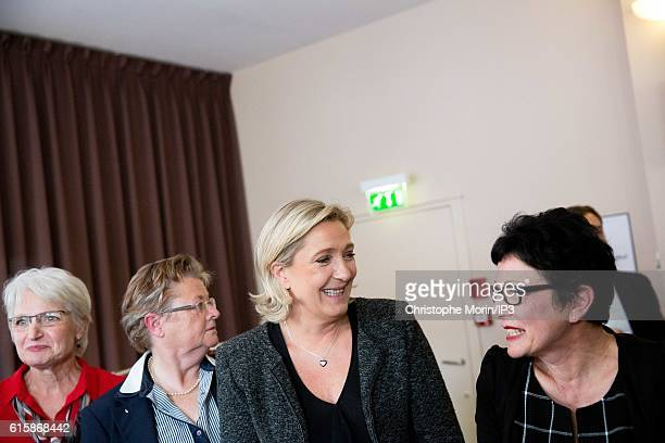 French far right National Front political party leader Marine Le Pen , member of the European Parliament, and candidate for the 2017 presidential...