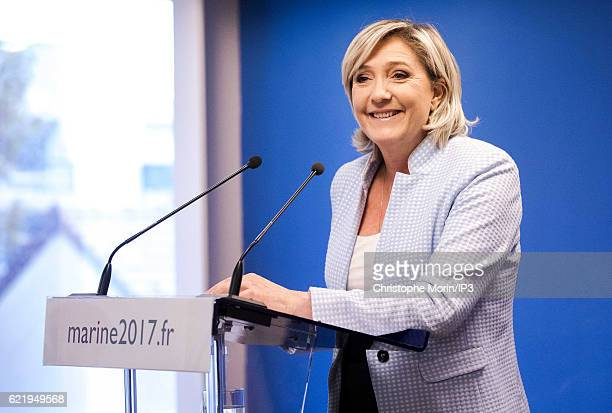 French far right National Front political party leader Marine Le Pen member of the European Parliament and candidate for the 2017 presidential...