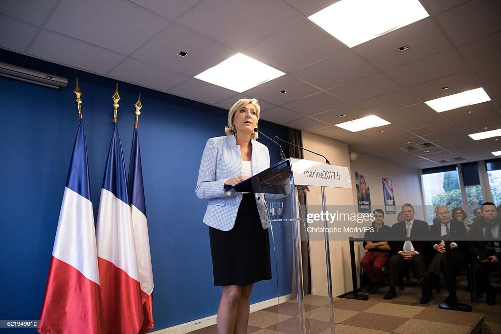 French far right National Front (FN) political party leader Marine Le Pen, member of the European Parliament and candidate for the 2017 presidential elections, holds a press conference at the party headquarters after Donald Trump defeated Democratic presidential nominee Hillary Clinton to become the 45th president of the United States, on November 9, 2016 in Nanterre, France.