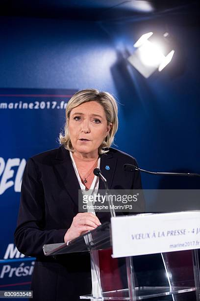 French far right National Front political party leader Marine Le Pen member of the European Parliament and candidate for the 2017 French Presidential...