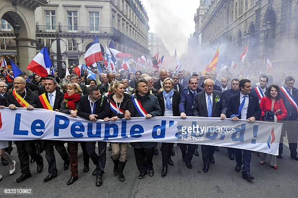 French far right party Front National president Marine Le Pen vicepresident Florian Philippot general secretary Steeve Briois and local elected...