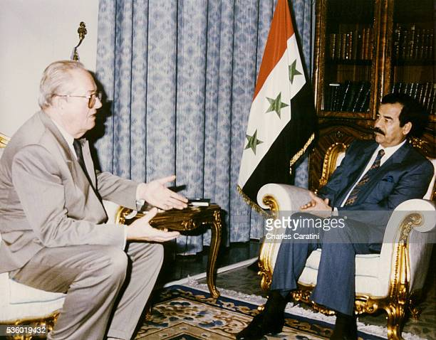 French far rightwing and nationalist politician founder and President of the National Front JeanMarie Le Pen is welcomed in Iraq by President Saddam...
