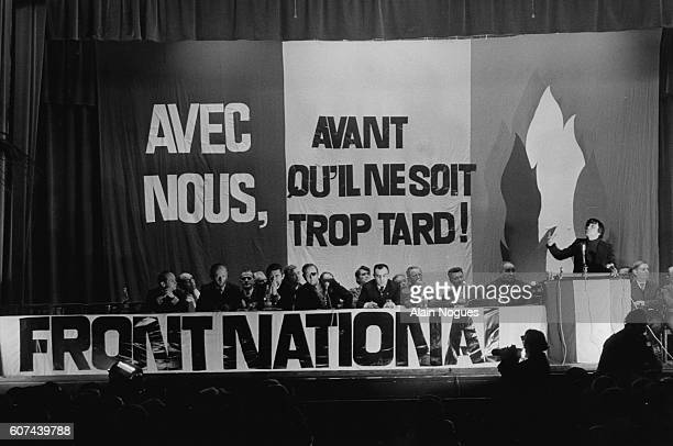 French far rightwing and nationalist politician founder and President of the National Front JeanMarie Le Pen attends a meeting at the Maison de la...