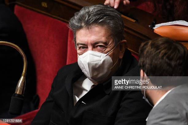 French far-left La France Insoumise parliamentary group's president Jean-Luc Melenchon looks on during a session of questions to the government at...