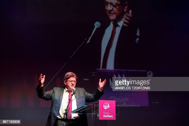 French farleft leader JeanLuc Melenchon delivers a speech during a conference organised by the leader of the Course of Freedom political party in...