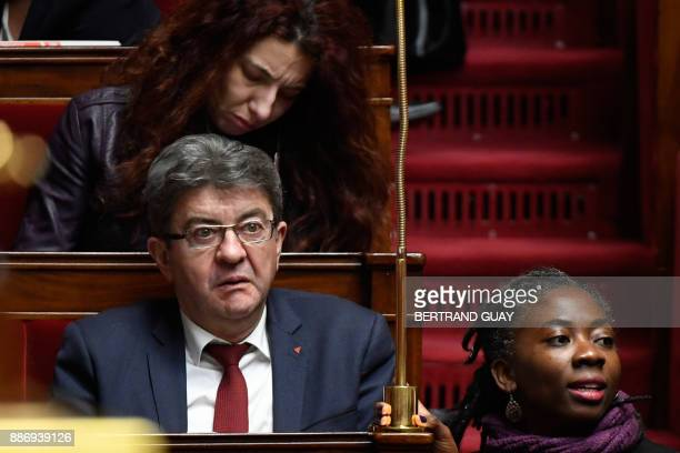 French farleft party La France Insoumise members of Parliament JeanLuc Melenchon and Daniele Obono attend a session of questions to the government on...