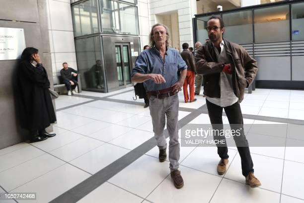 French farmer Cedric Herrou arrives for his trial on october 22 2018 at the courthouse in Nice southern France Cedric Herrou is sued for public...