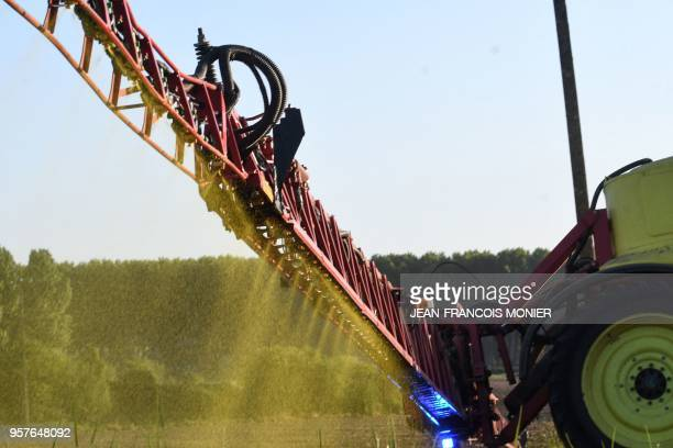 French farmer Nicolas Denieul sprays Roundup 720 glyphosate herbicide produced by US agrochemical giant Monsanto on May 11 on a field of notill corn...