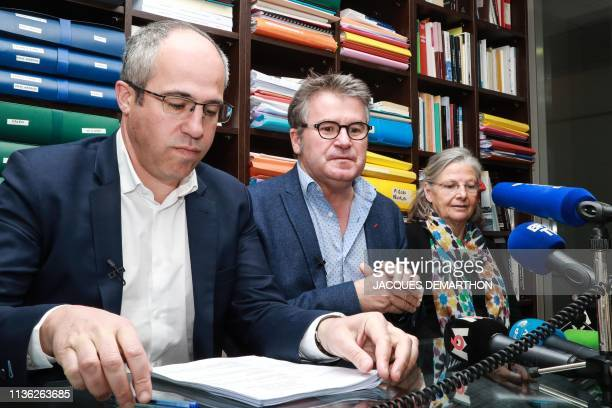 French farmer Paul Francois his lawyer Francois Lafforgue and French health sociologist Annie ThebaudMony attend a press conference following the...