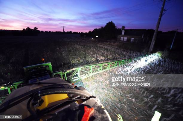 A French farmer sprays in a field an insecticide at the request of the inhabitants of SaintMarsduDesert because an unexplained invasion of bedbug in...