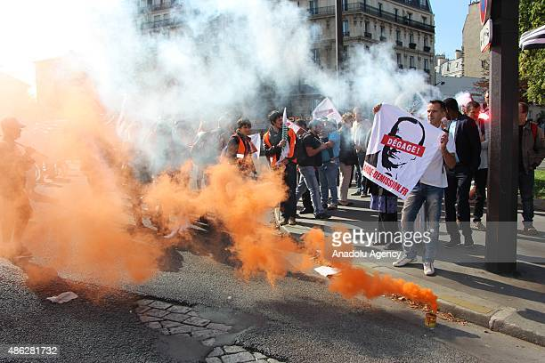 French farmers gather outside the Place de la Nation during a protest against high taxes and falling food prices on September 03 2015 in Paris France...