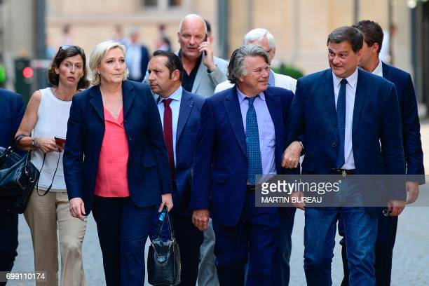 French farrigh Front National party's newly elected Members of Parliament Emmanuelle Menard Marine Le Pen Sebastien Chenu Gilbert Collard Jose Evrard...