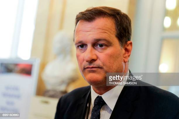 French farrigh Front National party's newlyelected Member of Parliament Louis Aliot addresses the media on June 21 2017 at the French National...
