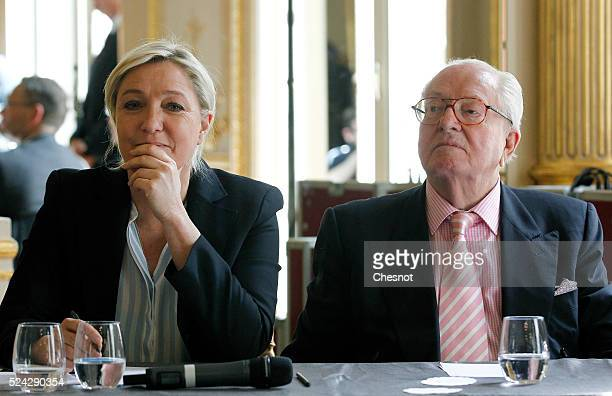 French farright Front National founder and honorary President JeanMarie Le Pen and his daugther FN's party president Marine Le Pen attend a press...