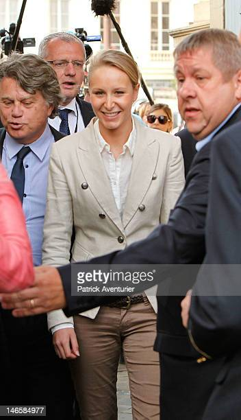 French farright Front National newly elected member of parliament Marion Marechal Le Pen arrives at Assemblee Nationale on June 20 2012 in Paris...