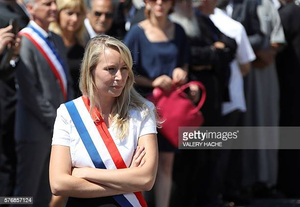 French far-right Front National party MP Marion Marechal-Le Pen attends a minute of silence on the Promenade des Anglais in Nice on July 18 in...
