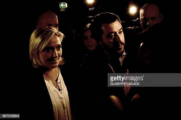 French farright Front National party president Marine Le Pen and Italian Lega Nord Secretary Matteo Salvini arrive at the first ENF congress in Milan...
