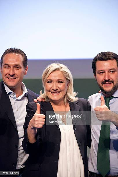 French farright Front National party president Marine Le Pen and Italian Lega Nord Secretary Matteo Salvini are seen at the first Europe of Nations...