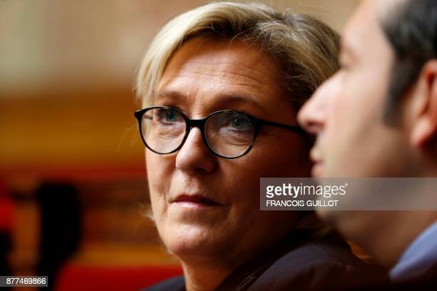 French farright Front National party president Marine Le Pen attends a session of questions to the government at the National Assembly in Paris on...