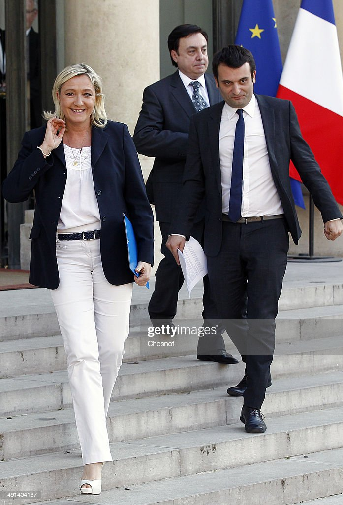 French President Francois Holland Receives Marine Le Pen,  French Far-right FN Party president At Elysee Palace
