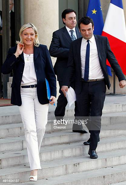 French farright Front National party president Marine Le Pen FN vicepresidents JeanFranois Jalkh and Florian Philippot leave the Elysee Palace after...