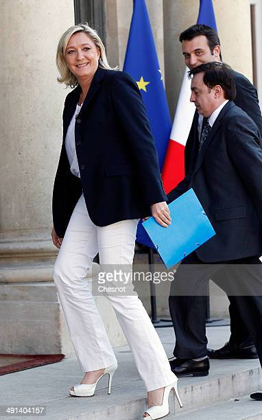 French farright Front National party president Marine Le Pen FN vicepresidents JeanFranois Jalkh and Florian Philippot arrive at the Elysee Palace...