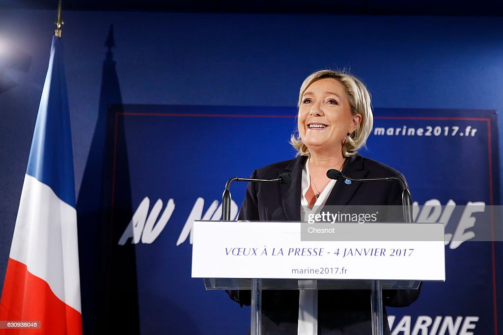 French Far-Right Front National  Party President Marine Le Pen Presents Her Wishes To The Press