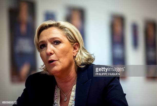 French farright Front National party president Marine Le Pen speaks during a press briefing in support of the FN candidates in the 12th and 3rd...
