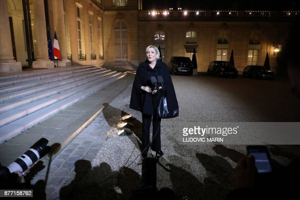 French farright Front National party president Marine Le Pen speaks to the press after a meeting with the French president at the Elysee palace in...
