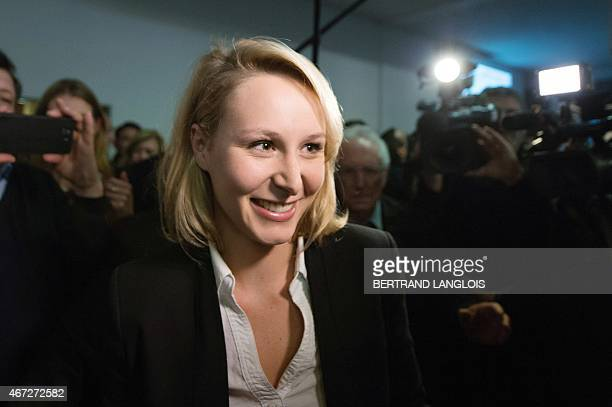French farright Front National party's MP Marion MarechalLe Pen general secretary of the FN's Vaucluse department Federation arrives to give a speech...