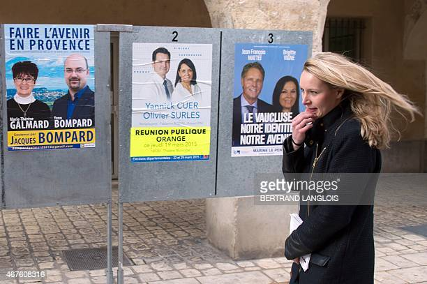 French farright Front National party's MP Marion MarechalLe Pen general secretary of the FN's Vaucluse department Federation walks in street during a...
