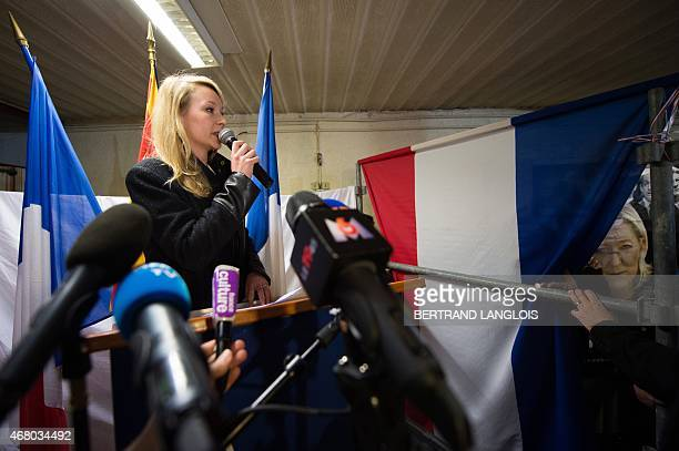 French farright Front National party's MP Marion MarechalLe Pen general secretary of the FN's Vaucluse department Federation gives a speech following...