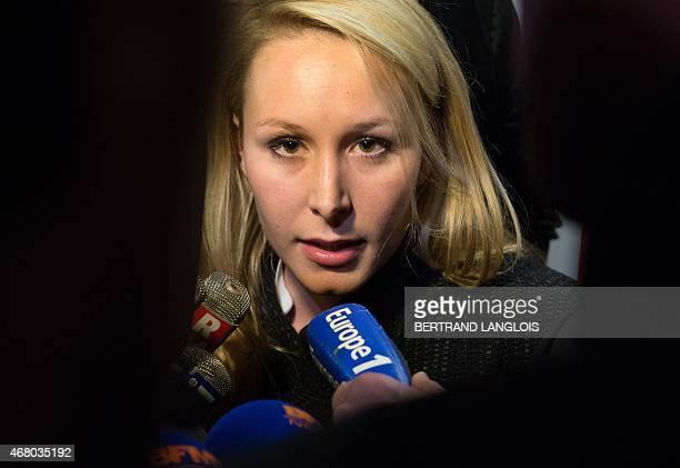 French farright Front National party's MP Marion MarechalLe Pen general secretary of the FN's Vaucluse department Federation speaks to journalists...