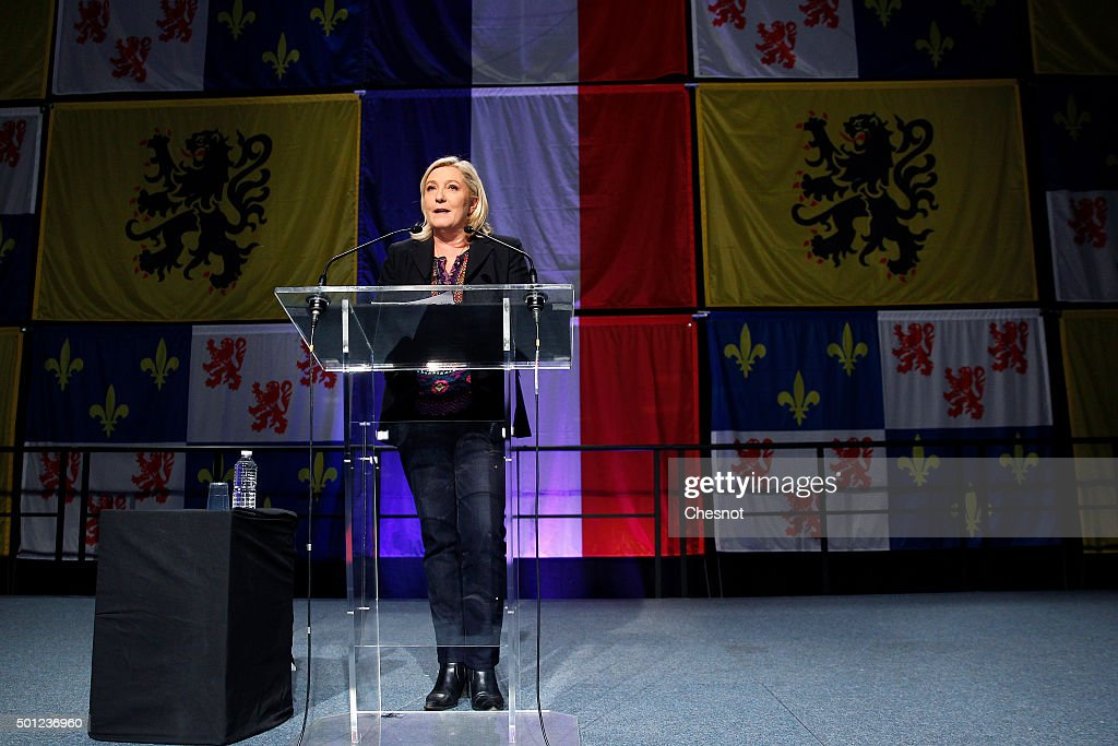 French far-right Front National (FN) party's President Marine Le Pen candidate for the regional election in the Nord-Pas-de-Calais-Picardie region makes a statement after the results of the second round of the regional elections at Francois Mitterrand hall on December 13, 2015 in Henin-Beaumont, France. France's far-right National Front (FN) loses the regional elections in all of France despite record results in the first round.