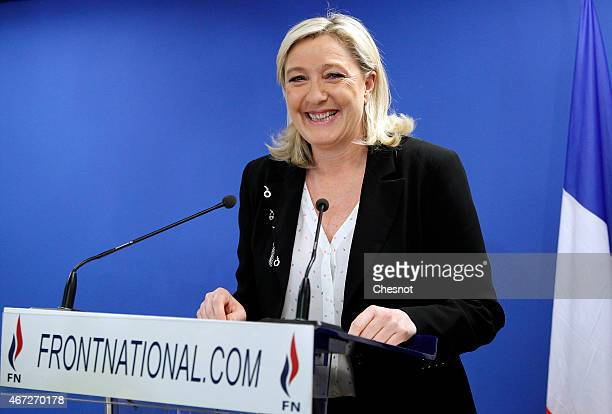 French farright Front National President Marine Le Pen delivers a speech following the anouncement of results for the first round of the French...
