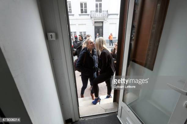 French farright National Front deputy Marion Marechal Le Pen arrives to give a press conference on April 25 2017 in Denain France