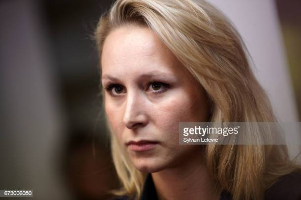 French farright National Front deputy Marion Marechal Le Pen gives a press conference on April 25 2017 in Denain France