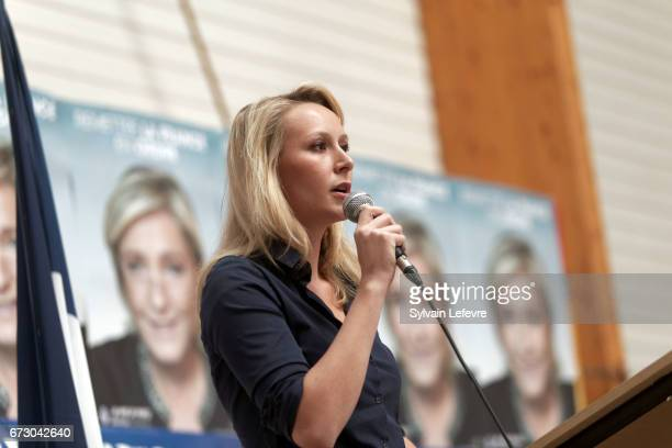 French farright National Front deputy Marion Marechal Le Pen holds a campaign meeting on April 25 2017 at Salle Durandal in Lecluse France