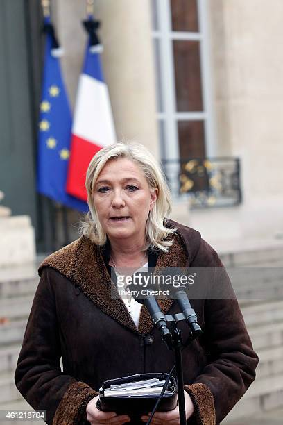 French farright National Front leader Marine Le Pen talks to the media after a meeting with French President Francois HollandeTwo days after a deadly...