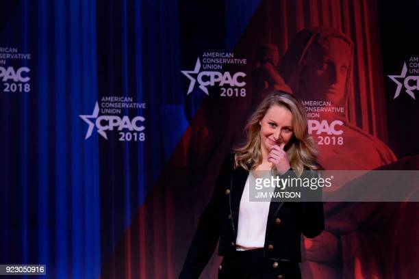 TOPSHOT French farright National Front party former member of parliament Marion MarechalLe Pen speaks during the 2018 Conservative Political Action...