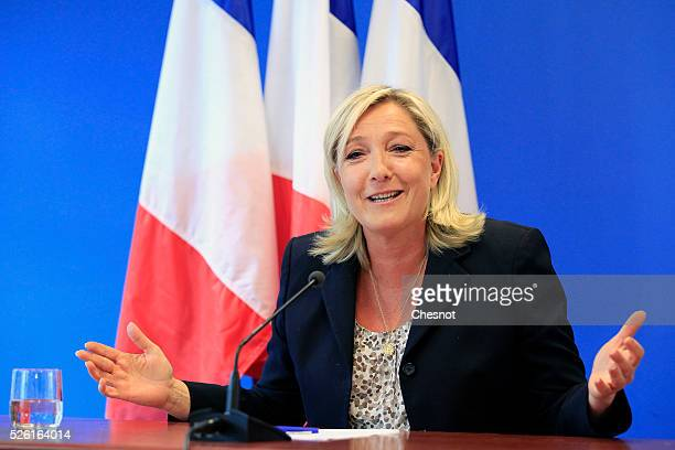 French farright National Front party President Marine Le Pen speaks during a press conference at the FN headquarters in Nanterre on June 25 2014...