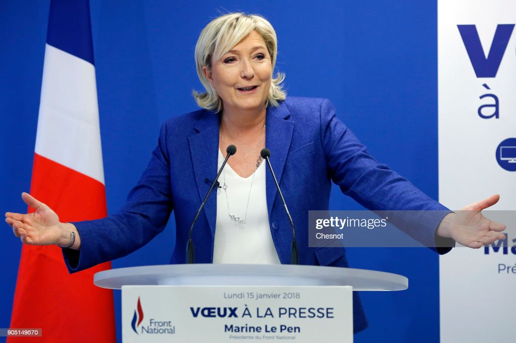 French far-right National Front (FN) political party leader, Marine Le Pen delivers her New Year wishes to the media at the party's headquarters on January 15, 2018 in Nanterre, France. Le Pen was defeated by Emmanuelle Macron in the second round of presidential elections in 2017.